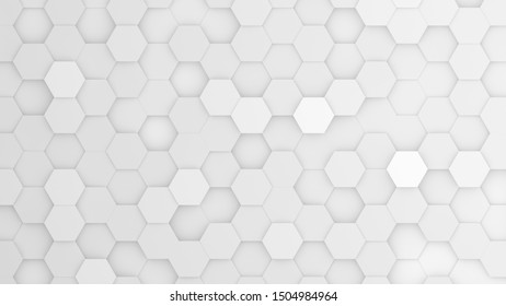 Silver hexagonal grid in a random pattern. 3D computer generated image.