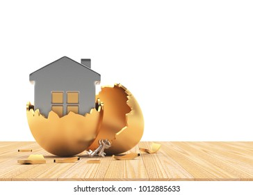 Silver house inside a golden broken Easter egg on wooden table with space for text on white. 3D illustration