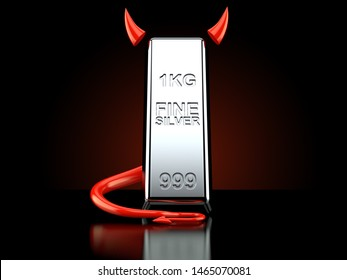 Silver ingot with devil horns and tail on black background. 3d illustration
