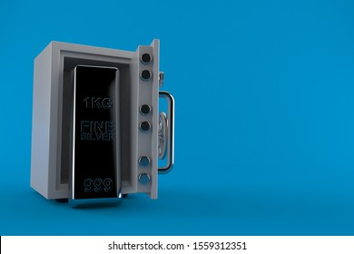 Silver ingot inside safe isolated on blue background. 3d illustration