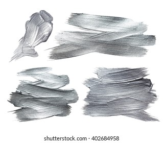 Silver Iron Foil Stroke. Silver Metallic Glitter Design. Silver Abstract Paint Stain. Steel Iron Illustration Set. Shiny Silver Gloss Design.