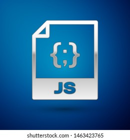 Silver JS file document icon. Download js button icon isolated on blue background. JS file symbol