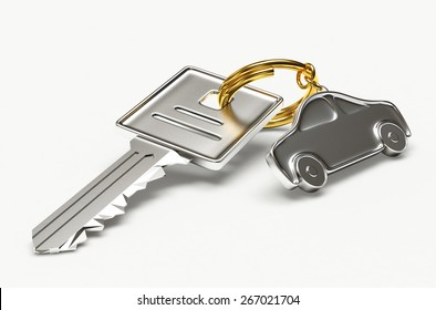Silver key with car figure isolated on white background