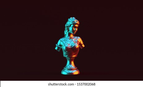 Silver Lady Bust Sculpture with Red Orange and Blue Green Moody 80s lighting Front 3d illustration 3d render