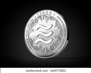 Silver Libra cryptocurrency concept coin isolated on black background. Project Libra conceptual design. 3D rendering