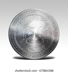 silver lisk coin isolated on white background 3d rendering
