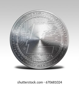 silver litecoin isolated on white background 3d illustration