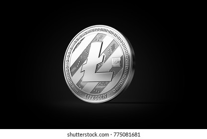 Silver Litecoin LTC cryptocurrency physical concept coin isolated on black background. 3D rendering