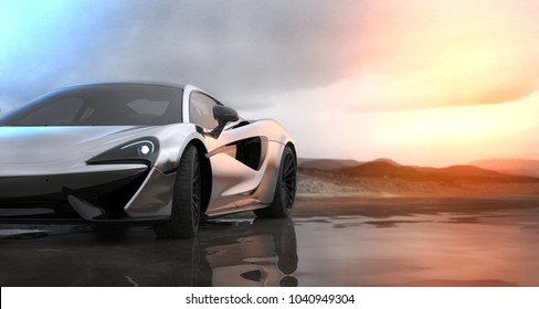 Silver luxury sports car sunset scene (with grunge overlay), headlight detail - 3d illustration