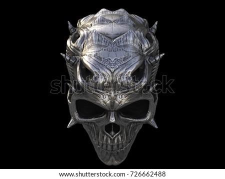 silver metal demon skull 3 d illustration stock illustration
