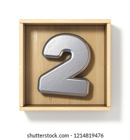 Silver metal number 2 TWO in wooden box 3D render illustration isolated on white background