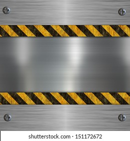 silver metal plate and warning stripes