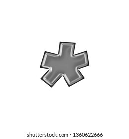Silver metallic asterisk or star shape symbol in a 3D illustration with a shiny smooth metal style with a highlighted beveled edge in a basic bold font on white with clipping path