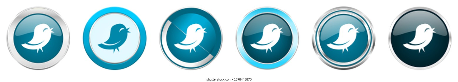 silver metallic chrome border icons in 6 options, set of web blue round buttons isolated on white background