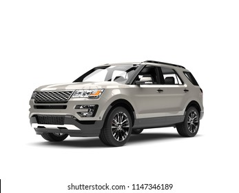 Silver metallic modern SUV car - beauty shot - 3D Illustration