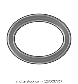 Silver metallic oval outline or ellipse shape ring design element in a 3D illustration with a shiny smooth metal style with a highlighted beveled edge on white with clipping path