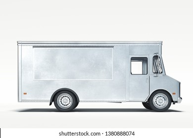 Silver metallic realistic food truck isolated on white. 3d rendering.