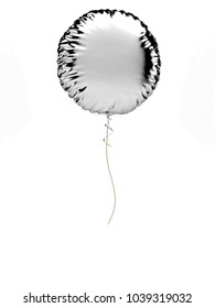 Silver metallic round baloon isolated on white background. 3D illustration of celebration, party baloons