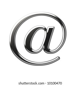 Silver metallic at sign on white background. Clipping path included