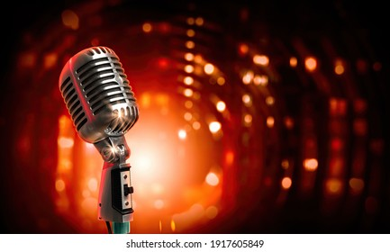 Silver microphone with red lights at the background. 3D render