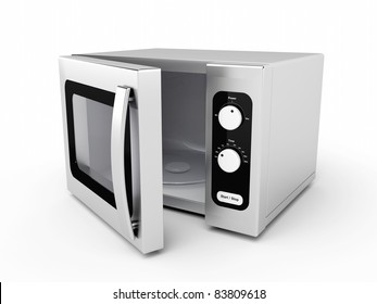 Silver microwave oven with open door on white background