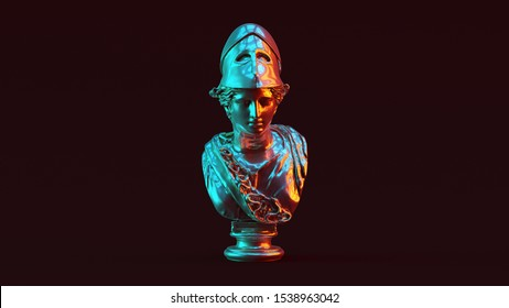 Silver Minerva Bust Sculpture with Red Orange and Blue Green Moody 80s lighting Front View 3d illustration 3d render