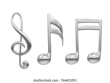 Silver Music Notes Isolated. 3D rendering