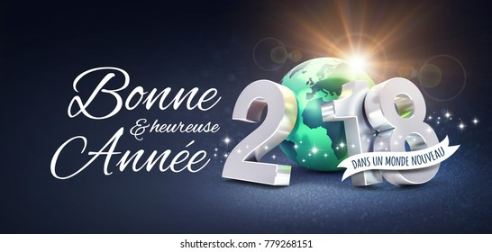 Silver New Year date 2018, composed with a green planet earth, Greetings in French, on a glittering black background - 3D illustration