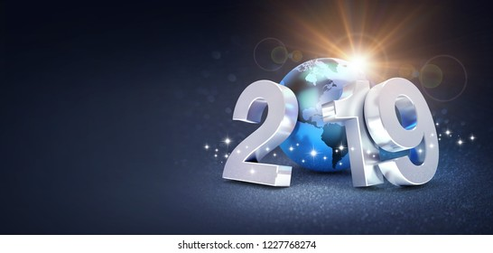 Silver New Year date 2019 composed with a blue planet earth, sun shining behind, on a glittering black background - 3D illustration