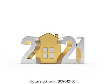 Silver number 2021 with golden house icon isolated on white background. 3D illustration
