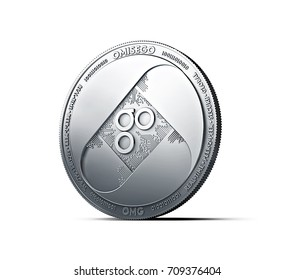 Silver OMISEGO OMG coin isolated on white background. 3D rendering (new virtual money)