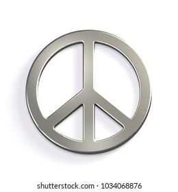 Silver Peace Sign. 3D Render Illustration