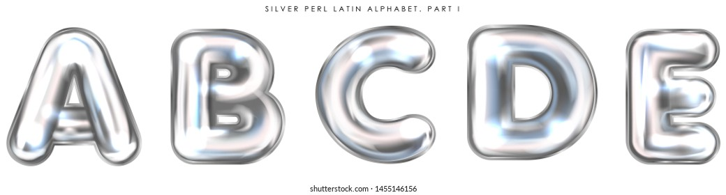 Silver perl foil inflated alphabet symbols, isolated letters A-B-C-D-E