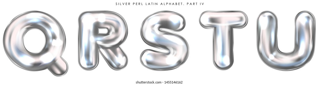 Silver perl foil inflated alphabet symbols, isolated letters Q-R-S-T-U