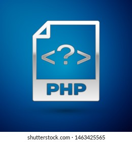 Silver PHP file document icon. Download php button icon isolated on blue background. PHP file symbol
