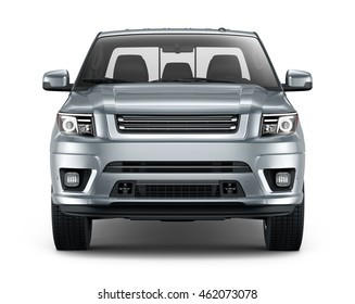 Silver pickup car - front view (3D render)