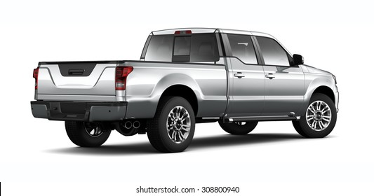 Silver pickup truck - 3D render on white