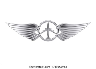 Silver Pilot Wing Emblem, Badge or Logo Symbol on a white background. 3d Rendering