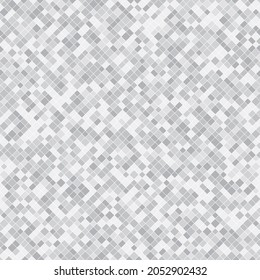 Silver pixel background texture. Raster abstract seamless pattern with small gray squares, tiny rectangles, pixel mesh. Luxury geometric patterns. Modern repeat design for decor, print, website, wrap