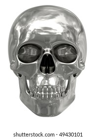 Silver or platinum skull isolated on white background. High resolution 3D image