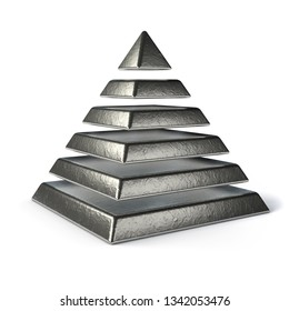 Silver pyramid. Maslow's Hierarchy of Needs theory illustration. 3D illustration