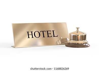 Silver reception bell and check in desk sign, 3d illustration
