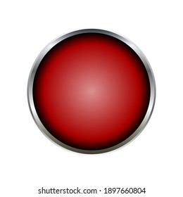 Silver red round button on white background