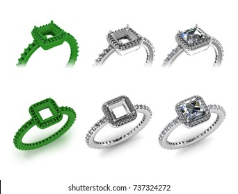 Silver Rings with diamonds,Green wax rings,Prototype design,isolated white background-3D image.