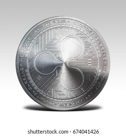 silver ripple coin isolated on white background 3d rendering