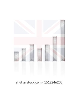 SILVER RISING PRICE. concept of increase price of SILVER in UK also increase the amount of tons of SILVER national reserve in UNITED KINGDOM, using SILVER bars as a graph representation. 3d illustrati