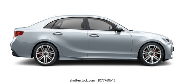 Silver sedan car on white background - side view (3D render)