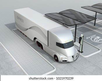 Silver self-driving electric truck charging at charging station. 3D rendering image.