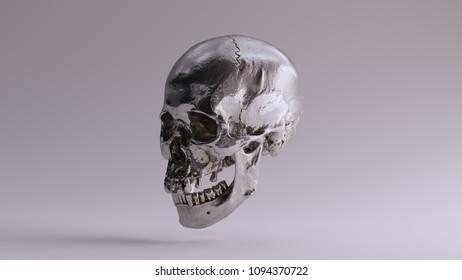 Silver Skull and Jaw Bone 3Q Left 3d Illustration skull scan scsuvizlab CC Attribution