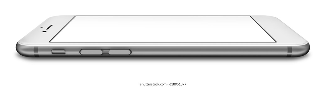 Silver smartphones with blank screen, isolated on white background. 3d illustration.